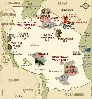 Map of Tanzania conservation and tourism